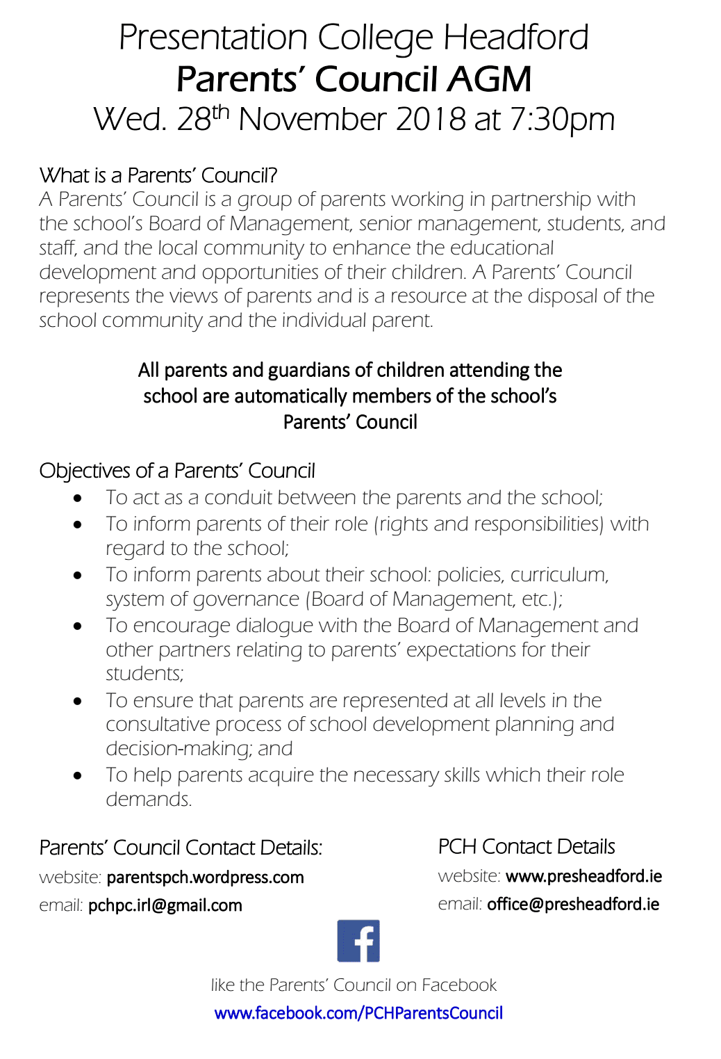 PCH Parents' Council AGM